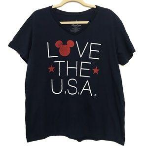 "Disney | ""Love the USA"" Navy Mickey Mouse T-Shirt"